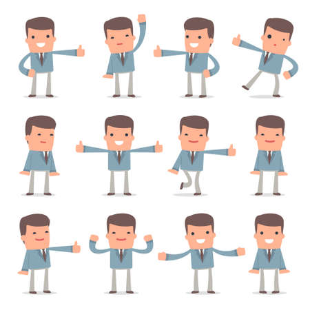 Set of Funny and Cheerful Character Graduate Student showing thumb up as a symbol of approval for using in presentations, etc. Illustration