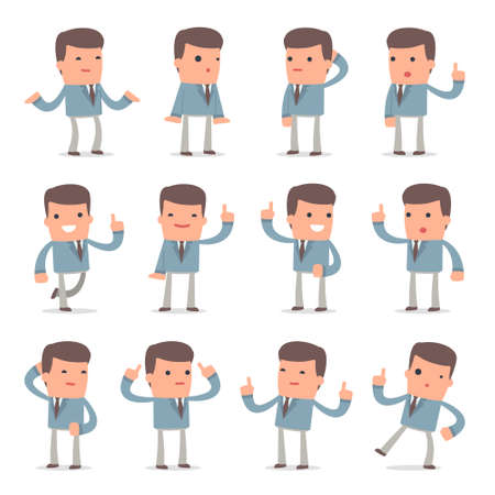 Set of Intelligent and Clever Character Graduate Student visited great idea poses for using in presentations, etc.