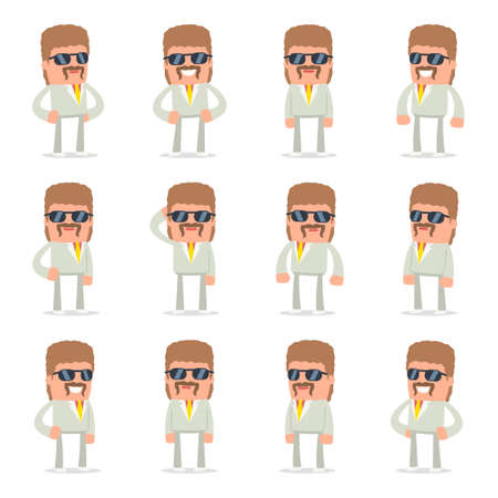 resell: Set of Happy and Cheerful Character Impudent Reseller standing in relaxed poses for using in presentations, etc. Illustration