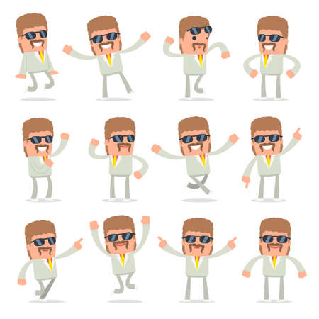 resell: Set of Laughing and Joyful Character Impudent Reseller in celebrates and jumps poses for using in presentations, etc.