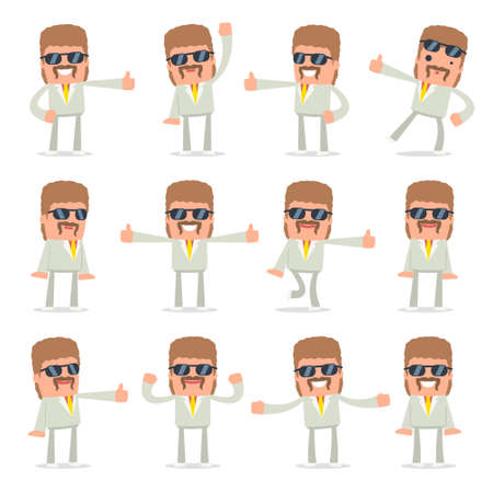 resell: Set of Funny and Cheerful Character Impudent Reseller showing thumb up as a symbol of approval for using in presentations, etc. Illustration