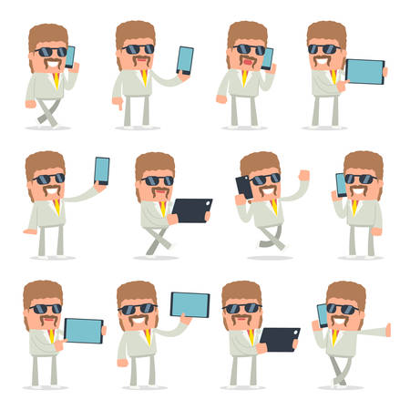 holding smart phone: Set of Smart and Funny Character Impudent Reseller holding mobile phone for using in presentations, etc. Illustration