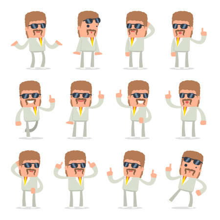 resell: Set of Intelligent and Clever Character Impudent Reseller visited great idea poses for using in presentations, etc. Illustration