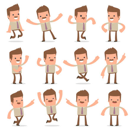 Set of Laughing and Joyful Character Bookkeeper in celebrates and jumps poses for using in presentations, etc.