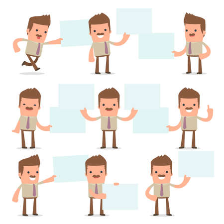 interacts: Set of Funny and Cheerful Character Bookkeeper holds and interacts with blank forms or objects for using in presentations, etc.