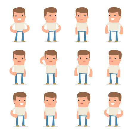 business confidence: Set of Happy and Cheerful Character Customer standing in relaxed poses for using in presentations, etc.