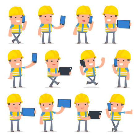 holding smart phone: Set of Smart and Funny Character Smart Builder holding mobile phone for using in presentations, etc. Illustration