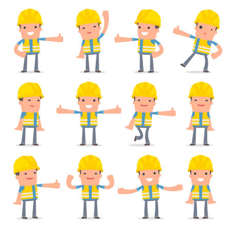 Set of Funny and Cheerful Character Smart Builder showing thumb up as a symbol of approval for using in presentations, etc.