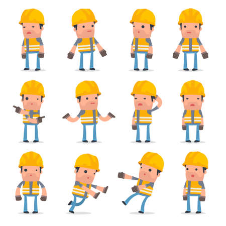 Set of Confused and Sad Character Incompetent Builder in ignorance poses for using in presentations, etc. Vectores