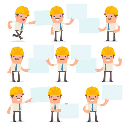 maintenance work: Set of Funny and Cheerful Character Foreman holds and interacts with blank forms or objects for using in presentations, etc.