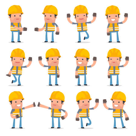 unreliable: Set of Funny and Cheerful Character Incompetent Builder welcomes poses for using in presentations, etc. Illustration