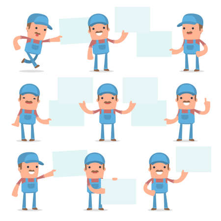 Set of Funny and Cheerful Character Technician holds and interacts with blank forms or objects for using in presentations, etc.