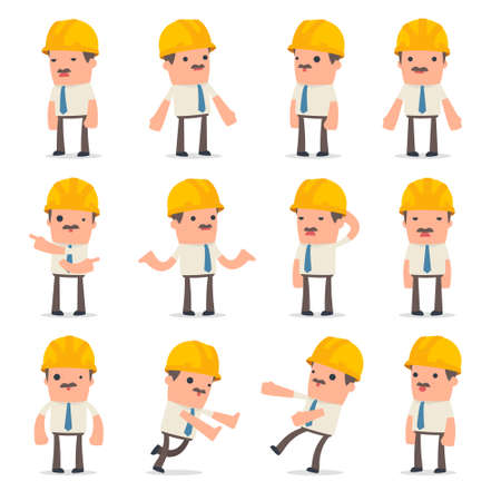 Set of Confused and Sad Character Foreman in ignorance poses for using in presentations, etc.