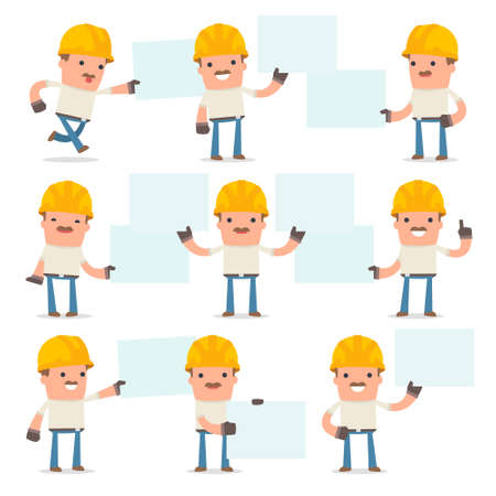 interacts: Set of Funny and Cheerful Character Handyman holds and interacts with blank forms or objects for using in presentations, etc.