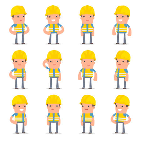 pleased: Set of Happy and Cheerful Character Smart Builder standing in relaxed poses for using in presentations, etc. Illustration