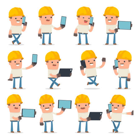holding smart phone: Set of Smart and Funny Character Handyman holding mobile phone for using in presentations, etc. Illustration