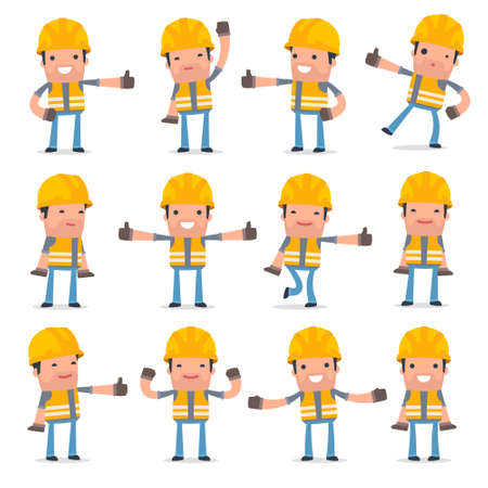 unreliable: Set of Funny and Cheerful Character Incompetent Builder showing thumb up as a symbol of approval for using in presentations, etc.