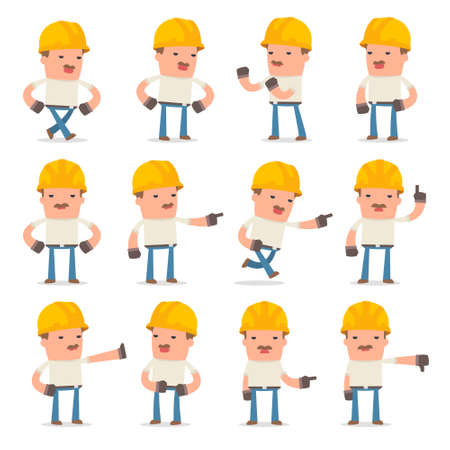 abuses: Set of Angry and Wrathful Character Handyman abuses and accuses poses for using in presentations, etc.