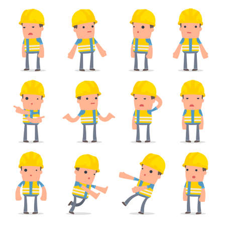 Set of Confused and Sad Character Smart Builder in ignorance poses for using in presentations, etc. Çizim