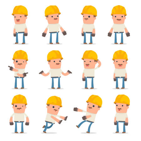 Set of Confused and Sad Character Handyman in ignorance poses for using in presentations, etc. Illustration