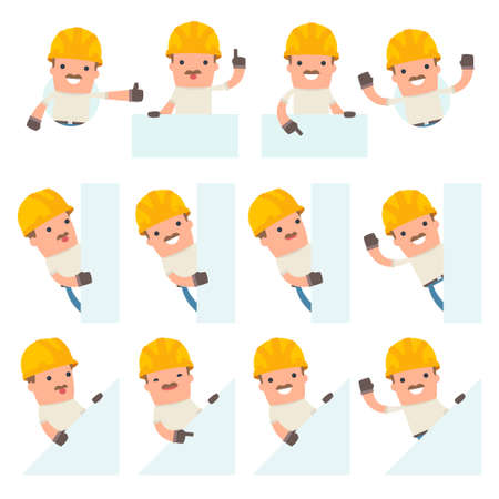 Set of Funny and Cheerful Character Handyman holds and interacts with blank forms or objects for using in presentations, etc.
