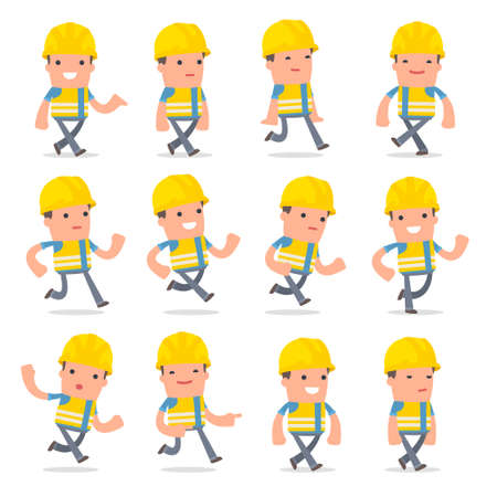 people in action: Set of Funny and Cheerful Character Smart Builder goes and runs poses for using in presentations, etc. Illustration