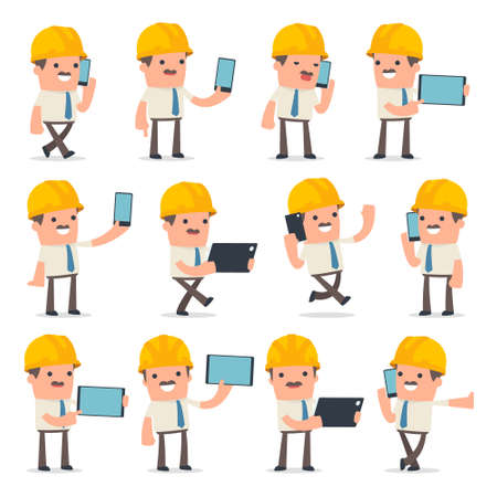 Set of Smart and Funny Character Foreman holding mobile phone for using in presentations, etc. Vetores