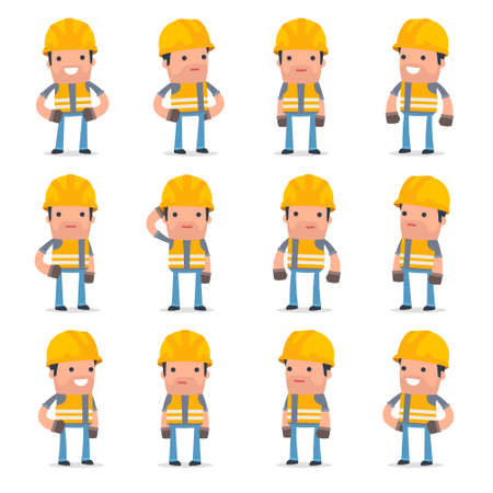 unreliable: Set of Happy and Cheerful Character Incompetent Builder standing in relaxed poses for using in presentations, etc. Illustration