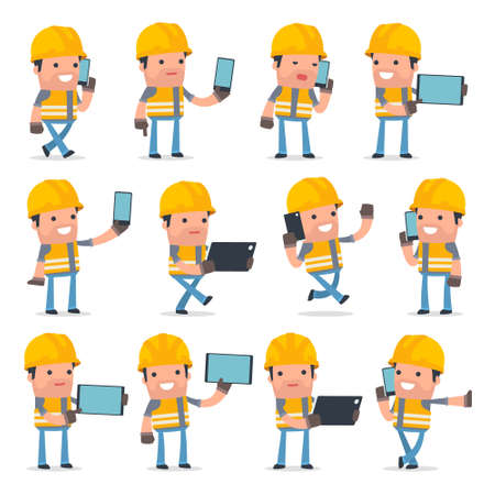 holding smart phone: Set of Smart and Funny Character Incompetent Builder holding mobile phone for using in presentations, etc. Illustration