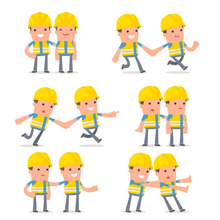 Set of Good and Careful Character Smart Builder in helps poses for using in presentations, etc.