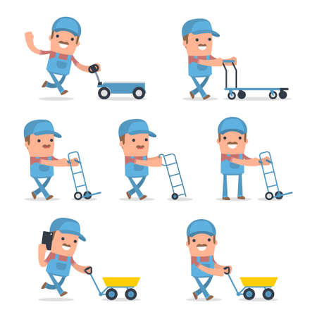 labourer: Set of Smart and Funny Character with cart, barrow, trolley for using in presentations, etc.