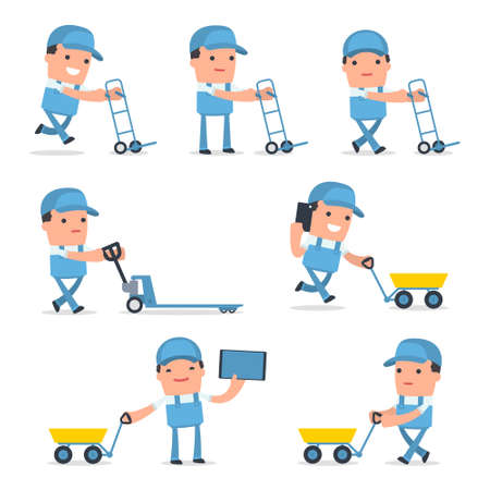 labourers: Set of Smart and Funny Character with cart, barrow, trolley for using in presentations, etc.