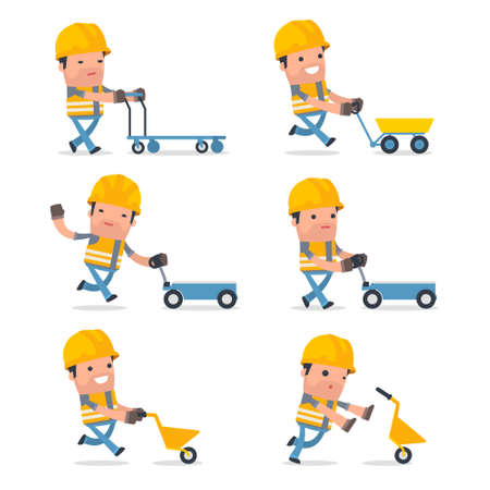 laborer: Set of Smart and Funny Character with cart, barrow, trolley for using in presentations, etc.