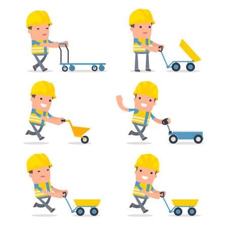 carretilla de mano: Conjunto de caracteres inteligente y divertido con el carro, carretilla, carro para el uso en presentaciones, etc. Vectores