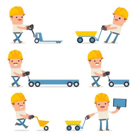 Conjunto de caracteres inteligente y divertido con el carro, carretilla, carro para el uso en presentaciones, etc.