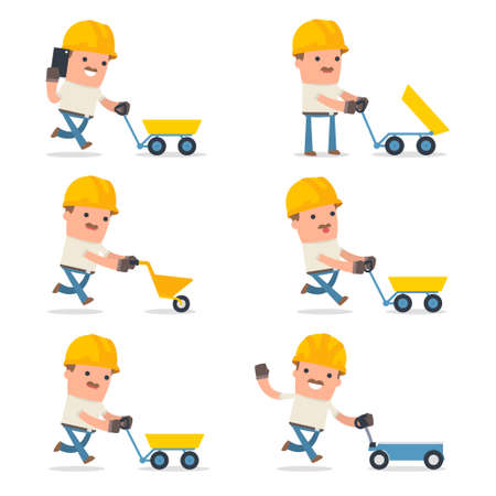 carretilla de mano: Set of Smart and Funny Character with cart, barrow, trolley for using in presentations, etc.