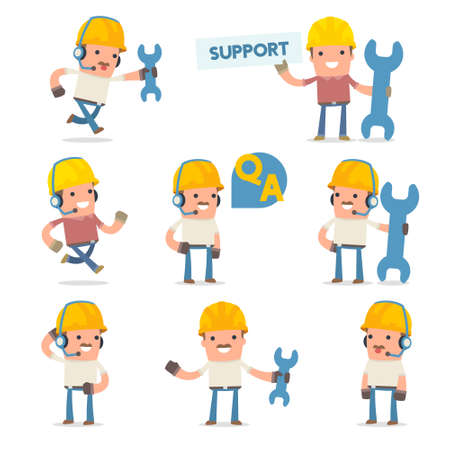 50+ Poses of Characters with Help and Support Symbols for using in Design, Presentation and etc. Illustration