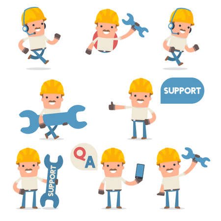 50+ Poses of Characters with Help and Support Symbols for using in Design, Presentation and etc. Ilustração