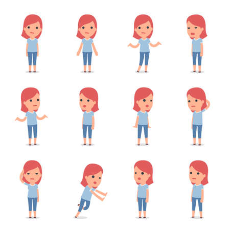 Set of Smart and Cute Character Family Girl making Presentation for using in Design, etc. Illustration