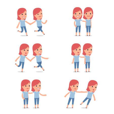 Set of Smart and Cute Character Family Girl making Presentation for using in Design, etc. Ilustração