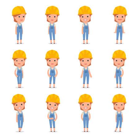 Conjunto de caracteres inteligente y linda Constructor de la niña que hace la presentación para usar en diseño, etc. Foto de archivo - 67388504