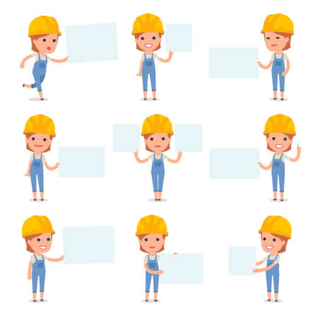 Set of Smart and Cute Character Builder Girl making Presentation for using in Design, etc.
