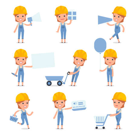 arquitecto caricatura: Conjunto de caracteres inteligente y linda Constructor de la niña que hace la presentación para usar en diseño, etc.