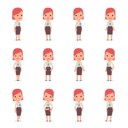 Set of Smart and Cute Character Consultant Girl  making Presentation for using in Design, etc. Illustration