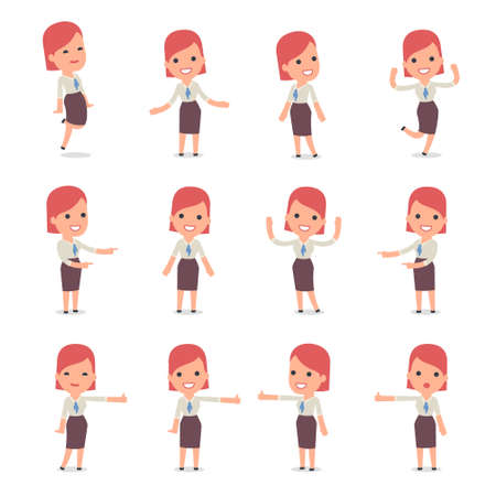 Set of Smart and Cute Character Consultant Girl  making Presentation for using in Design, etc. Иллюстрация