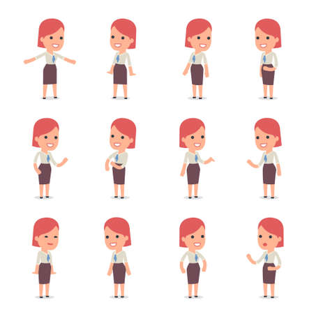 character design: Set of Smart and Cute Character Consultant Girl  making Presentation for using in Design, etc. Illustration