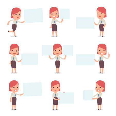 Set of Smart and Cute Character Consultant Girl  making Presentation for using in Design, etc. Ilustração