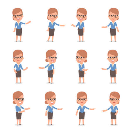 Set of Smart and Cute Character Teacher Girl  making Presentation for using in Design, etc. Illustration
