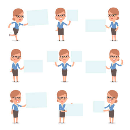 Set of Smart and Cute Character Teacher Girl  making Presentation for using in Design, etc. Illustration