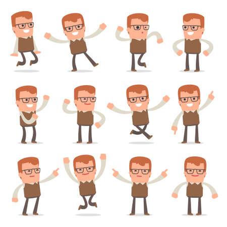 Set of Smart and Cute Character Genius making Presentation for using in Design, etc. Ilustração